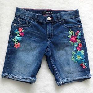Jordache Girls Embroidered Bermuda Jean Shorts